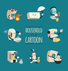 household appliances cartoon design concept vector image