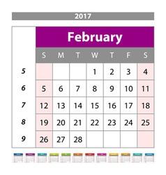 planning calendar February 2017 Monthly scheduler vector image