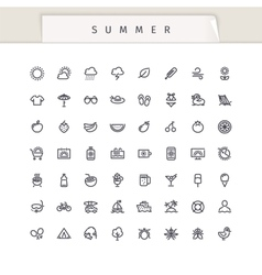 Summer and Vacation Stroke Icons Set vector image vector image