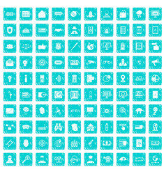 100 security icons set grunge blue vector