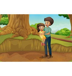 A father and his daughter at the forest vector image
