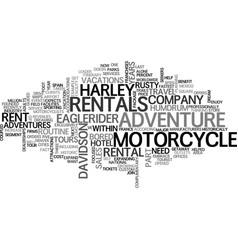 Adventures for rent text word cloud concept vector