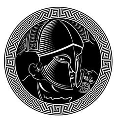 Ancient spartan warrior helmet and greek ornament vector