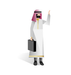 arabic businessman with suitcase waving hand vector image