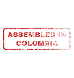 assembled in colombia rubber stamp vector image