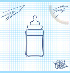 babottle line sketch icon isolated on white vector image