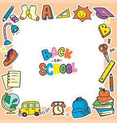 Back to school doodle background clip art frame vector