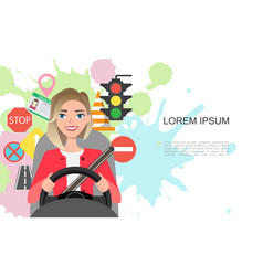 banner of road symbols and woman vector image