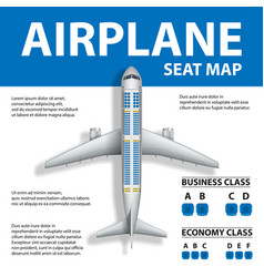 Banner poster flyer with airplane seat map vector
