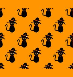 black cat witch seamless on orange background vector image