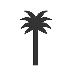 black single palm tree silhouette icon vector image