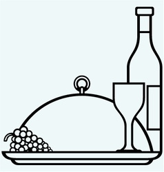 Bottles and glasses of wine on round tray vector image