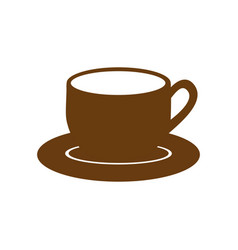 brown dish porcelain with cup vector image vector image