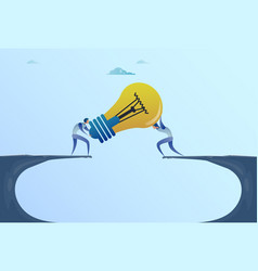 Business men giving light bulb over cliff gap vector