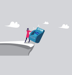Businesswoman pushing atm machine into abyss vector