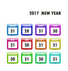 calendar icons 2017 new year vector image