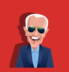 Caricature joe biden wearing sunglasses vector