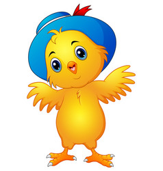 Cartoon chick wearing a hat vector