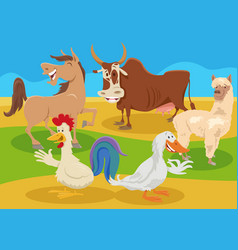 cartoon farm animal characters in countryside vector image