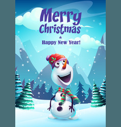 cartoon snowman greeting vector image