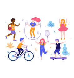 children activities set kids doing sports vector image
