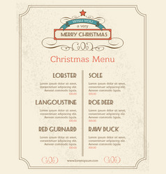 Christmas food menu retro typography and ornament vector
