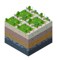 City park with people urban landscape soil layers vector