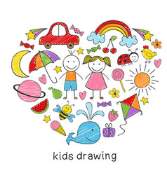 Colored kids drawings in form of heart vector