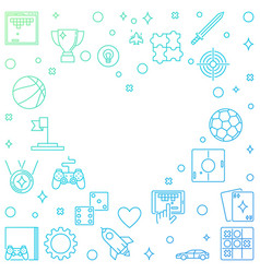 colorful frame with game outline icons in vector image