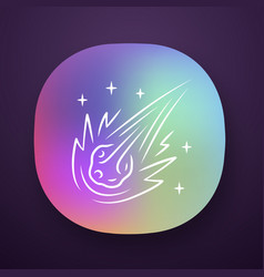 Comet app icon falling star meteor asteroid vector