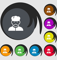 Cook icon sign Symbols on eight colored buttons vector image