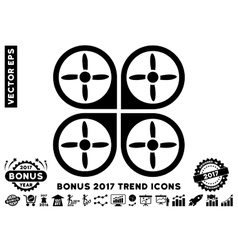 Copter flat icon with 2017 bonus trend vector