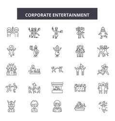 corporate entertainment line icons signs vector image