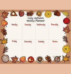 Cozy autumn weekly planner and to do list with vector