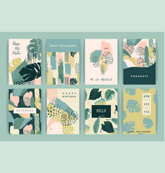 creative set templates with tropical plants and vector image