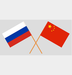 Crossed russia and republic of china flags vector
