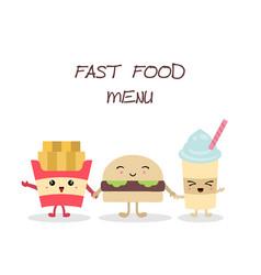 cute fast food meals cute fast food meals vector image