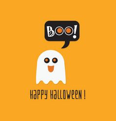 Cute happy halloween ghost boo greeting card vector