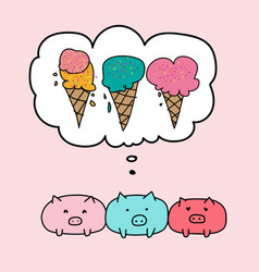 cute pig and bubbles with ice cream vector image