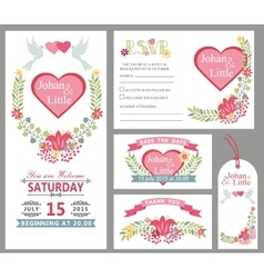 Cute wedding card design template setFloral decor vector image