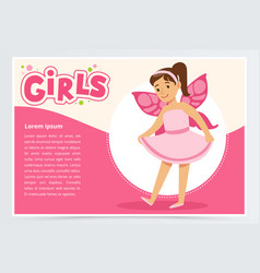 Dancing little girl with butterfly wings on back vector