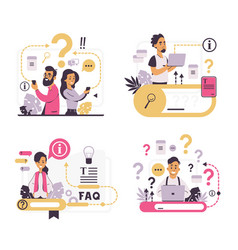 Faq concept customer support and forum question vector