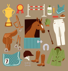 flat color jockey icons set with equipment vector image