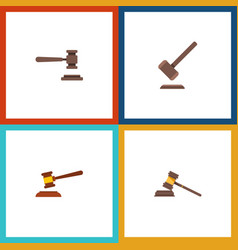 flat icon hammer set of hammer legal tribunal vector image