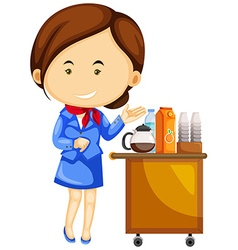 Flight attendant and drinks trolley cart vector
