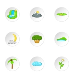 Flora icons set cartoon style vector image