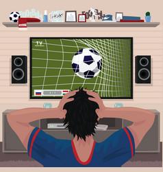 Football fan in despair after goal vector