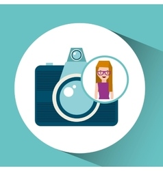 girl glasses camera tourist traveler vector image