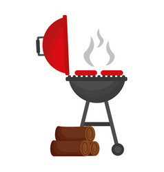 Grill barbecue sausages and wooden trunks vector