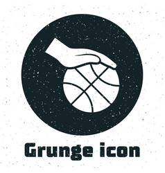 Grunge hand with basketball ball icon isolated on vector